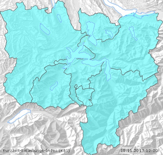 Karte der Luftqualität in der Innerschweiz, KBI