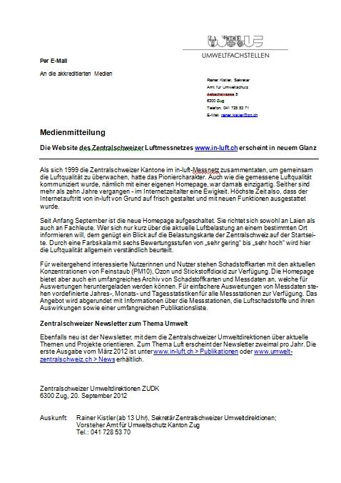Titelbild Medienmitteilung zur neuen Webseite www.in-luft.ch