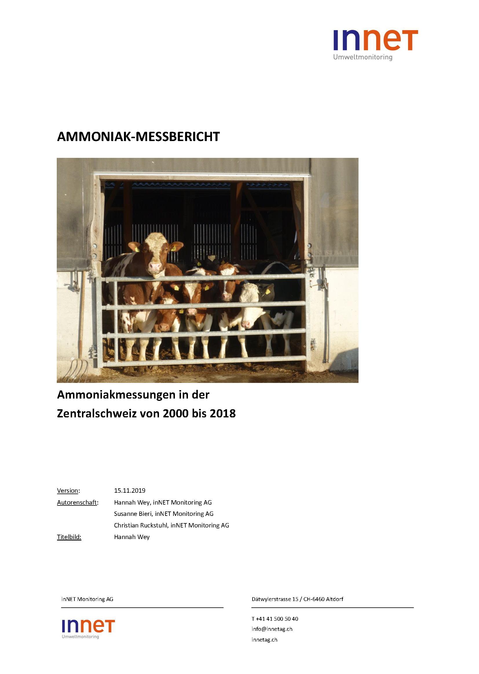 Titelbild Ammoniak-Messbericht 2000 bis 2018