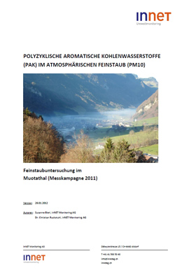 Titelbild Feinstaubuntersuchung im Muotathal, 2011