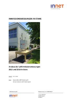 Titelbild Analyse der Luftimmissionsmessungen 2015 und 2016 in Stans