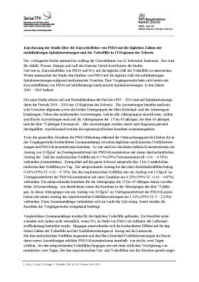 Titelbild Studie über die Kurzzeiteffekte von PM10 auf die täglichen Zahlen der notfallmässige Spitaleinweisungen (Spitalstudie)